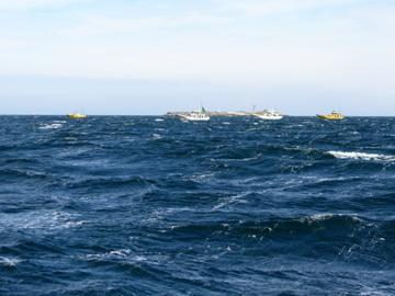 強風の中、釣り船多数。みな苦戦中。